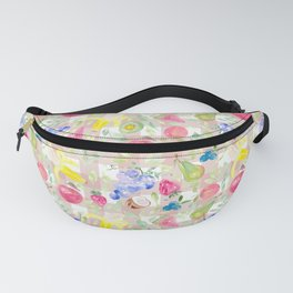 Watercolor Fruits on blush pink gingham Fanny Pack