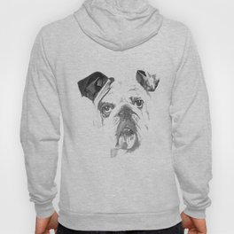 Portrait Of An American Bulldog In Black and White Hoody