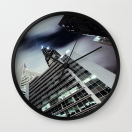 Cityscape I - Contemporary Skyscrapers Minimal Modern Studio Office Art Print Chicago Wall Clock