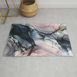 Blush, Navy and Gray Abstract Calm Clouds Rug