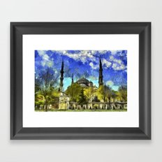 Blue Mosque Istanbul Van Gogh Framed Art Print