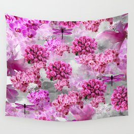 ORCHIDS ROSES AND MAGNOLIAS PINK Wall Tapestry