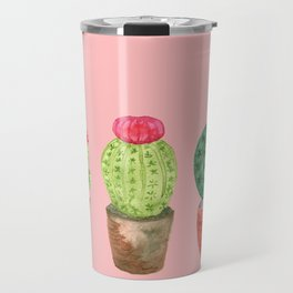 Three Cacti watercolor pink Travel Mug