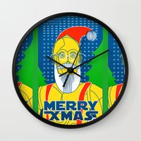 c3po Wall Clocks featuring Santa C3PO by Xenia Pirovskikh