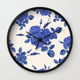 Seamless blue roses pattern Wall Clock