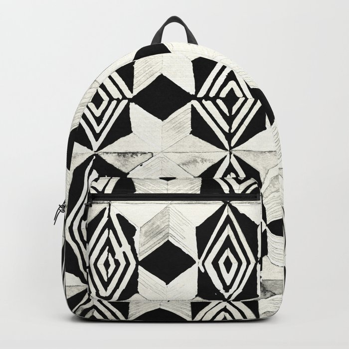 Tribal Shibori Stars Black and Cream Backpack