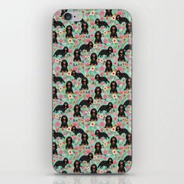 Cavalier King Charles Spaniel back and tan coat floral pattern dog breed gifts iPhone Skin