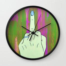 Fuck Off in Yellow Wall Clock