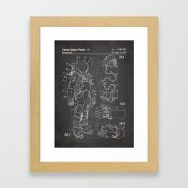 Nasa Apollo Spacesuite Patent - Nasa Astronaut Art - Black Chalkboard Framed Art Print