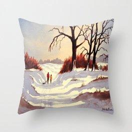 Sledding At Christmas Time Throw Pillow