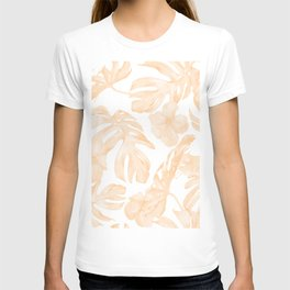 Island Vacation Hibiscus Palm Leaf Coral Apricot Orange T-shirt