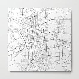 Lodz Map, Poland - Black and White  Metal Print