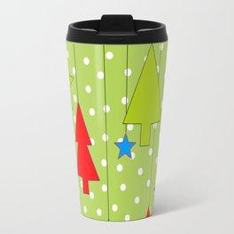 Christmas Trees and Stars Print with Polka Dot Background Travel Mug