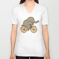 cycle V-neck T-shirts featuring Elephant Cycle by Terry Fan