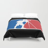 league Duvet Covers featuring Landscape League by Preston Lee Design