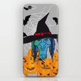Witch bats pumpkin Halloween iPhone Skin