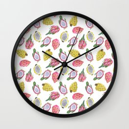 Dragon Fruit  Summer Watercolor Wall Clock