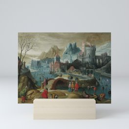 Flemish School, 17th Century A winter landscape with skaters on the ice Mini Art Print