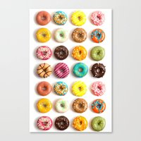 donuts Canvas Prints featuring Donuts by _popcorn