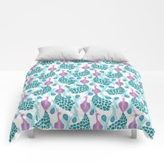Peacock pattern cute bird nursery minimal home decor peacocks plume feathers Comforters