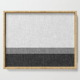 Black and White Graphic Burlap Pattern Stripe Serving Tray