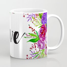 Love with Floral Watercolor Coffee Mug
