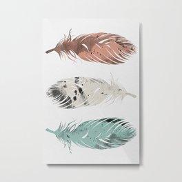 Pastel Feathers Metal Print