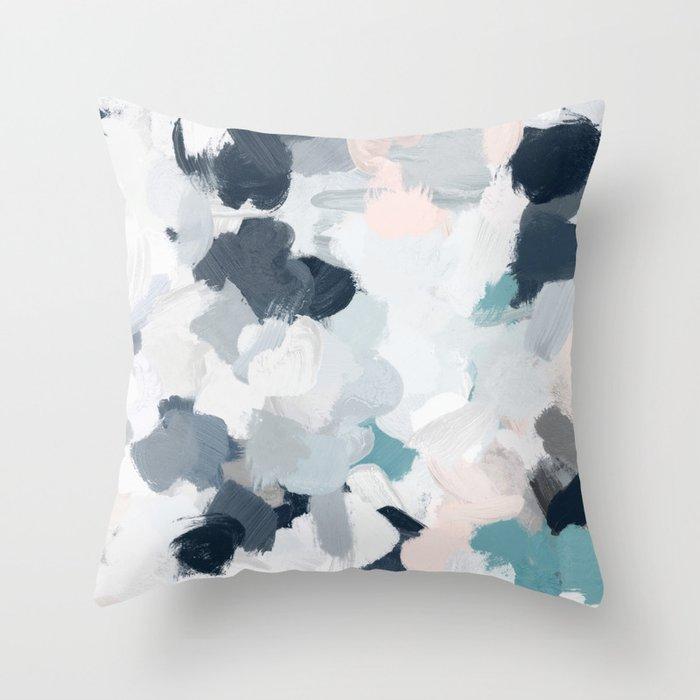 Navy Indigo Blue Blush Pink Gray Mint Abstract Air Clouds Art Sky Painting Throw Pillow