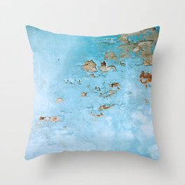 Turquoise Blue Abstract Texture Throw Pillow