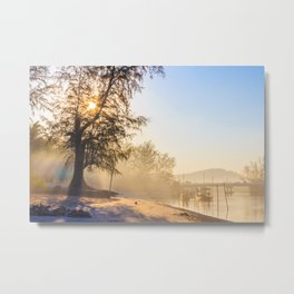 Misty morning on a river estuary, Trang province, Thailand Metal Print