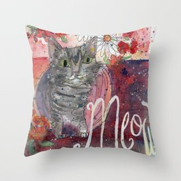 Meow Kitty Throw Pillow