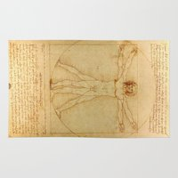 da vinci Area & Throw Rugs featuring Leonardo da Vinci - Vitruvian Man by Elegant Chaos Gallery