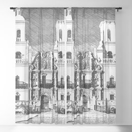 Mission San Xavier del Bac - Black and White Sheer Curtain