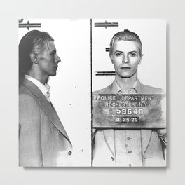 Bowie, David Mugshot (1976) Rochester, N.Y. Metal Print