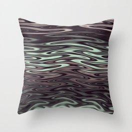 Ripples Fractal in Mint Hot Chocolate Throw Pillow
