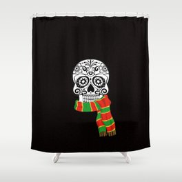 Funny skull with scarf Shower Curtain