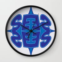 typo Wall Clocks featuring Abstract Typo by Ákos Kőrös