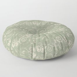 Farmhouse Scoll Diamond Ikat Pattern - Sage Ivory Floor Pillow