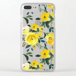 Hand painted modern yellow green watercolor floral Clear iPhone Case