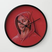 stiles stilinski Wall Clocks featuring Stiles in Red by Stormwolf Studios