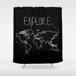 Explore World Map Shower Curtain