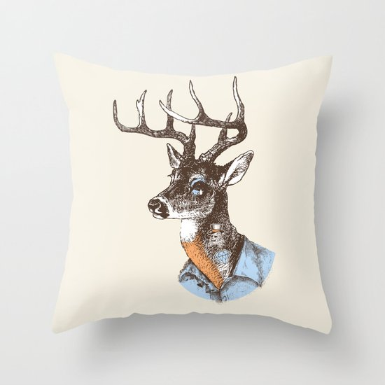 Lucienne the crying deer (with tattoos) Throw Pillow