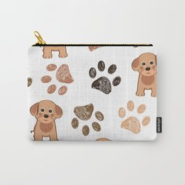 Cute Dog and Hand Drawn Paw Print Pattern Carry-All Pouch