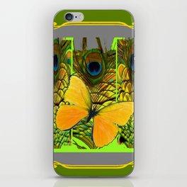 GREEN ART NOUVEAU BUTTERFLY PEACOCK PATTERNS iPhone Skin