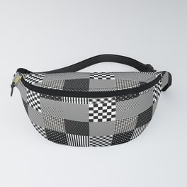 Classic Black and White Country Patchwork Quilt Fanny Pack