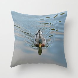 Mallard duck swimming in a turquoise lake 2 Throw Pillow