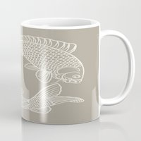 gray Mugs featuring Koi Alabaster Blue Gray by Beautiful Homes