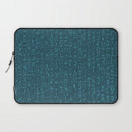 Hieroglyphics Moonstone BLUE / Ancient Egyptian hieroglyphics pattern Laptop Sleeve