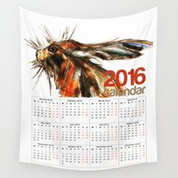 calendar Wall Tapestries featuring 2016 Calendar Hare by James Peart
