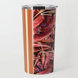 Chillies stripe pattern design orange Travel Mug